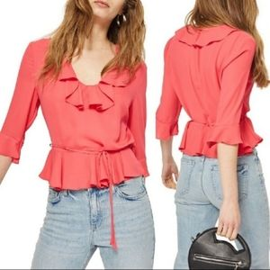 TopShop Pheobe Frilly Ruffle Blouse Top Pink NWT
